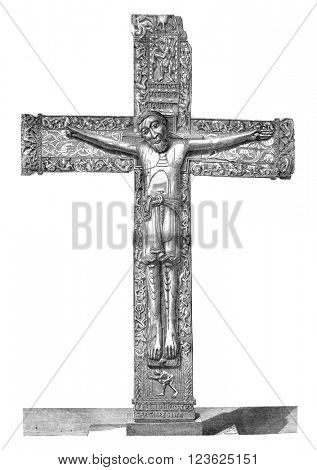 Madrid museum, Ivory Christ, vintage engraved illustration. Magasin Pittoresque 1870.