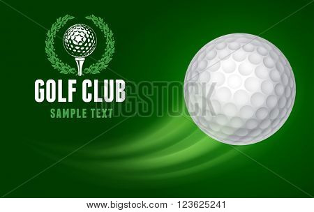 Card for Golf Club with Flying Golf Ball on Green Background. Realistic Vector Illustration.