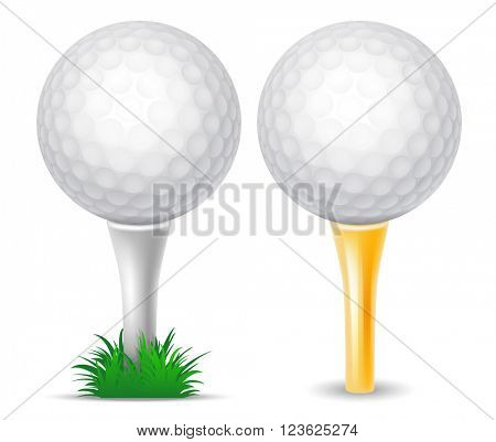 Set of White Golf Ball on White Tee with Grass and on Golden Tee. Realistic Vector Illustration. Isolated on White Background.