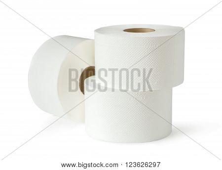 Three White Toilet Paper Rolls