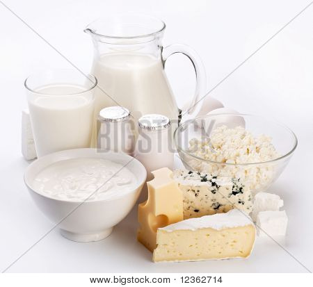 Different milk products. On a white background.