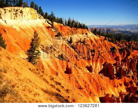 View of sedimentary rock strata in Bryce Canyon National Park (Utah, USA)