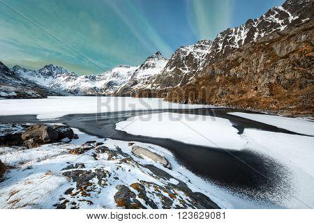 Winter landscape on Lofoten Islands A Norway