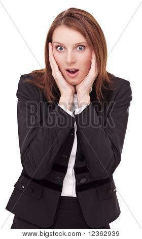 Portrait of frightened young business woman. Isolated on a white background.