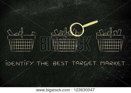 Magnifying Glass On Empty Vs Full Shopping Baskets, Best Target Market