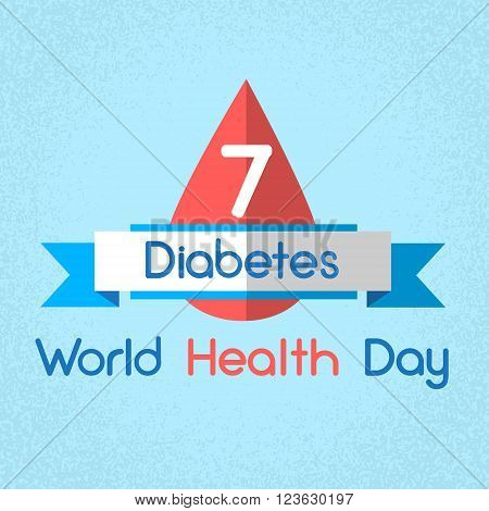 Blood Drop From Glucose Meter Level Diabetes World Health Day 7 April Holiday Banner Flat Vector Illustration
