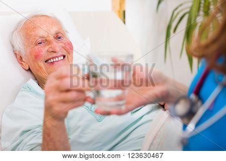 Drinking Senior Patient