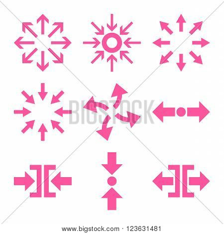 Compress and Explode Arrows vector icon set. Collection style is pink flat symbols on a white background.