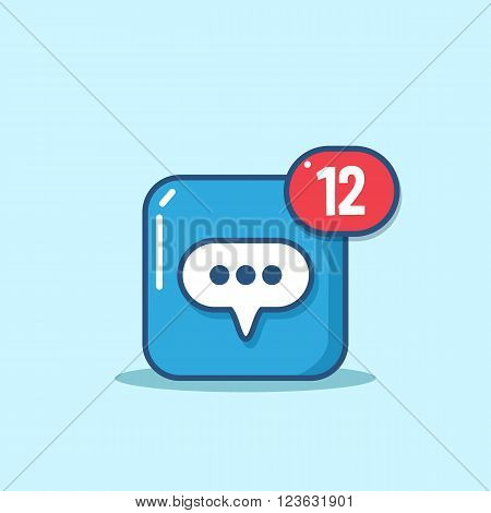 Vector Message icon in modern line style. Message icon with incoming messages or notifications. Design element for mobile and web applications.