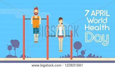Sport Fitness Man Woman Chin Up Bar Exercise Workout World Health Day 7 April Holiday Flat Vector Illustration
