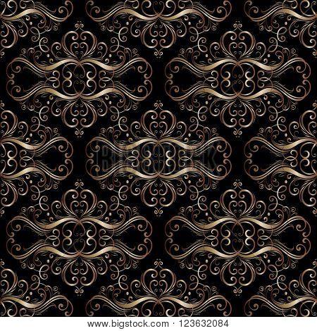 Seamless vintage floral pattern in baroque style. Element for design. Vector illustration.