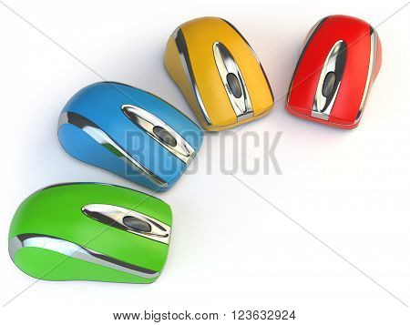 Computer mouses with different colors isolated on white. 3d