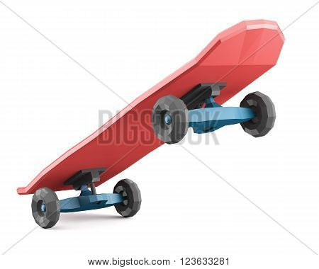 Red low polygonal skateboard isolated on white background