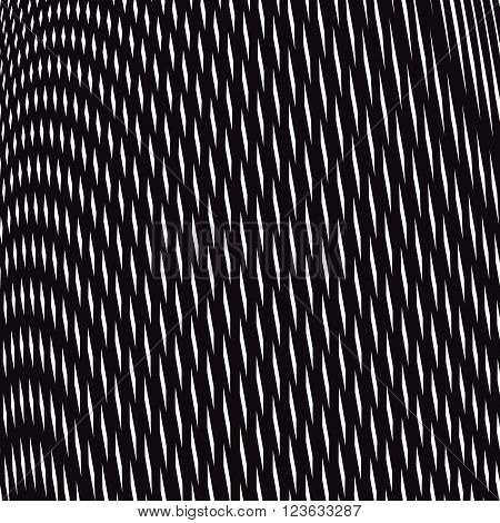 Moire style vector optical pattern motion effect tile. Decorative lined hypnotic contrast background.