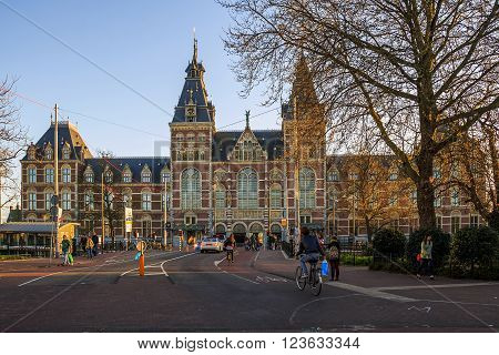 Amsterdam, Netherlands - May 4: This is building of the Rijksmuseum in Amsterdam at sunset May 4, 2015 in Amsterdam, Netherlands.