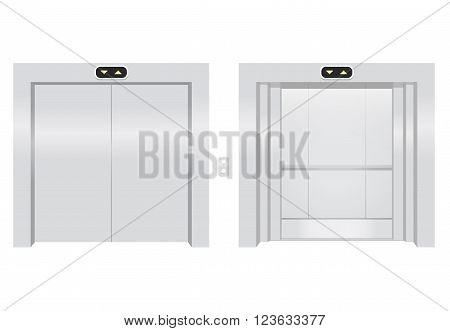 Open and close elevators. Realistic vector illustration. Metal lift