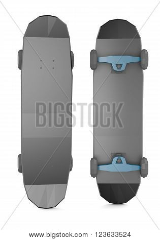 Two black low polygonal skateboards isolated on white background