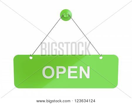 Green hanging door plate with Open sign isolated on white, 3D Illustration