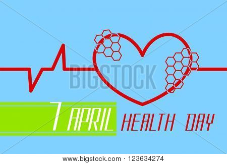 Red Heart Shape With Cardiogram Beat World Health Day Flat Vector Illustration