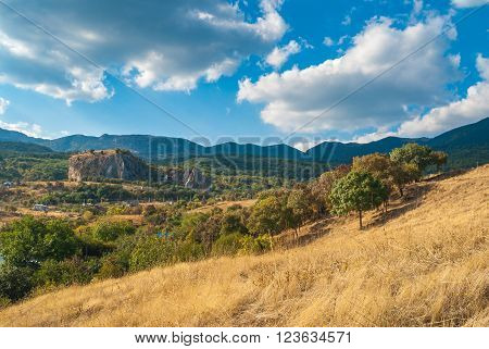 Landscape in Crimean mountains near Red rock - a place for rock-climbers gathering