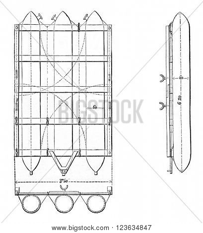 American Raft Perry, plan, section and lateral projection, vintage engraved illustration. Magasin Pittoresque 1870.