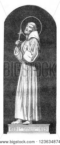 Saint Francis of Assisi, vintage engraved illustration. Magasin Pittoresque 1869.