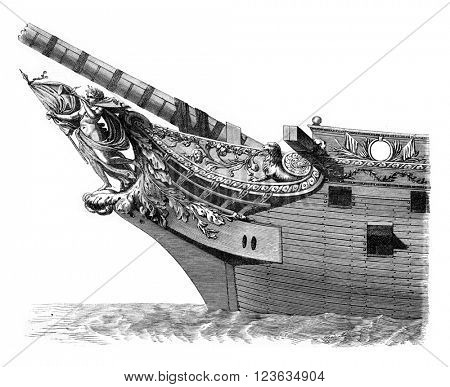 Ornaments from the prow of an ancient ship of 80 guns, vintage engraved illustration. Magasin Pittoresque 1869.