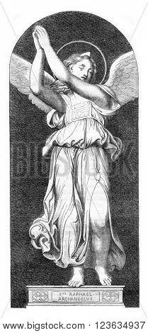 Archangel Raphael, vintage engraved illustration. Magasin Pittoresque 1869.