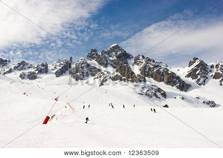Piste at Courchevel ski resort, French Alps