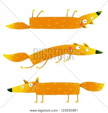 Fox animal fun cartoon watercolor style collection. Wildlife pet brightly colored hand drawn. Character foxy creature. Vector illustration