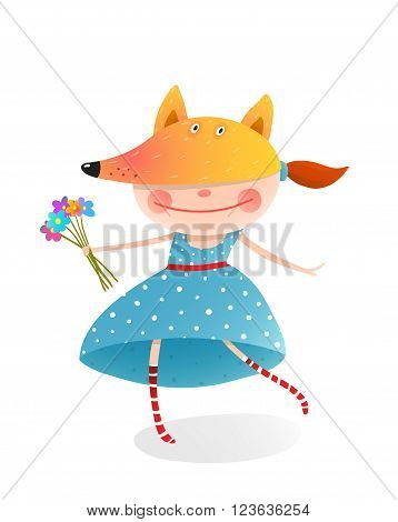 Kid in fox costume.  Childhood and handsome character person, vector illustration