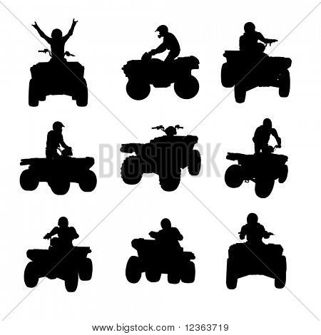 Sportsman riding quad bike silhouettes