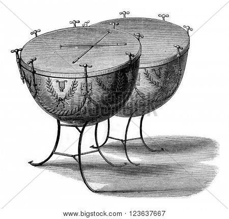 Modern timpani, vintage engraved illustration. Magasin Pittoresque 1869.