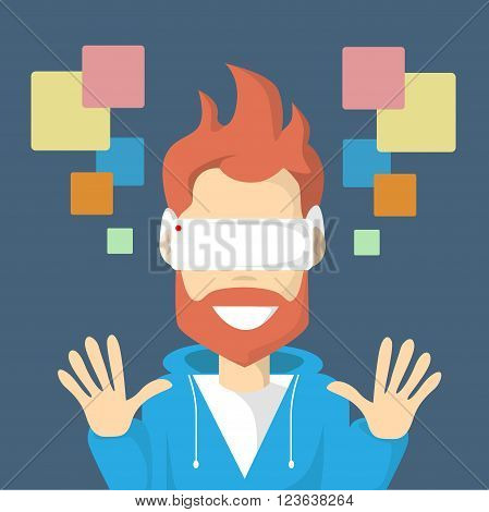 Man Virtual Reality Cyber Play Video Game Wear Digital Glasses Profile Icon Flat Design Vector Illustration