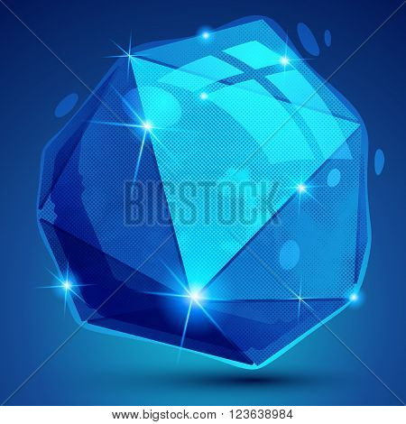 Contemporary plastic pixel dimensional object created from geometric figures shiny dotted complex futuristic 3d model.