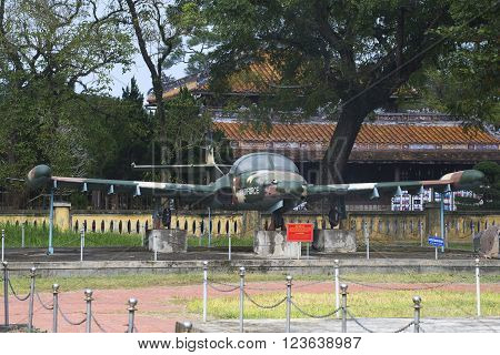 HUE, VIETNAM - JANUARY 08, 2016: The Cessna A-37 Dragonfly in Hue. The historic landmark of the city of Hue, Vietnam