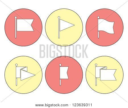Set of flag pin vector icons flat design. Red flag pin icon in flat style with long shadow. Collection of flag pin flat icon symbols. Flag pin design elements. EPS8 vector illustration.