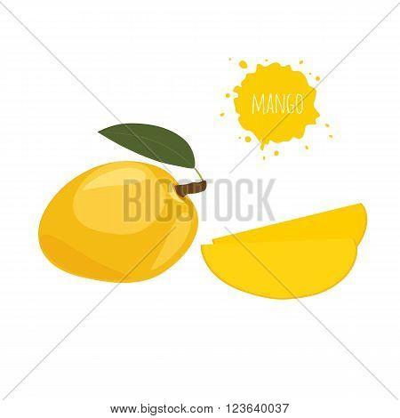 Yellow mango isolated on white background. Exotic fruit yellow mango isolated on white background