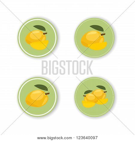 Round stickers with a tropical mango fruit. Round stickers with a tropical mango fruit for design use packaging of your product.