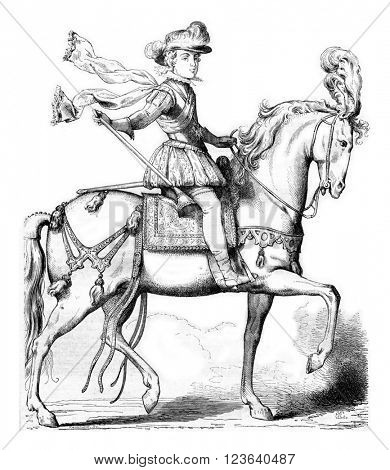 King on horseback, after an anonymous engraving of 1615, Collection of the History of France, vintage engraved illustration. Magasin Pittoresque 1857.