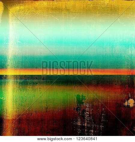 Vintage ancient background or texture with grunge decor elements and different color patterns: yellow (beige); green; blue; red (orange); black