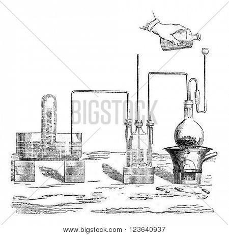 Preparation of hydrogen sulfide, vintage engraved illustration. Magasin Pittoresque 1857.