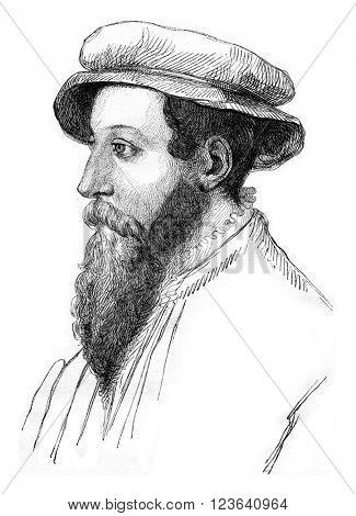 Portrait of Jacques Fouilloux, vintage engraved illustration. Magasin Pittoresque 1853.