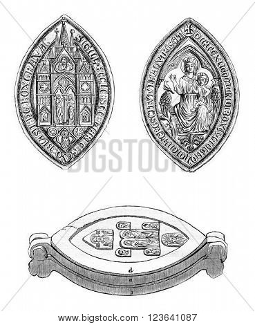 Sister Boxgrove Priory, Cast seal, vintage engraved illustration. Magasin Pittoresque 1853.