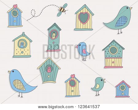 A set of cute bird houses and birds