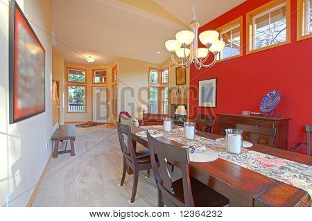 Large Red Living Room With Dark Brown Wood Table