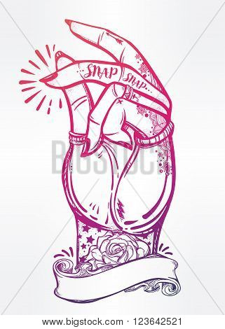 Hand drawn pop art flesh snapping fingers poster with frame for your text. Rock and Roll hand sign. Vector illustration isolated. Tattoo design, retro, music, summer, print symbol for your use.