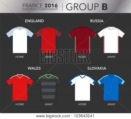 Vector Illustration of home and away football EURO 2016 shirts from the teams of the group B (England, Wales, Russia and Slovakia)