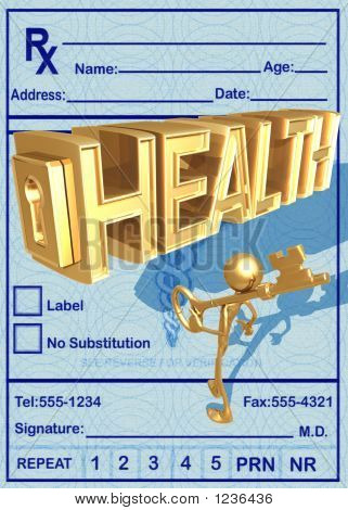 3D Key To Health Concept