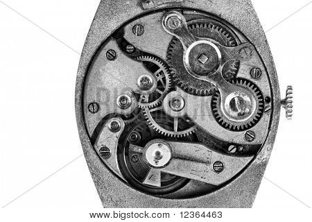 Antique wristwatch mechanism on white background, b&w shot